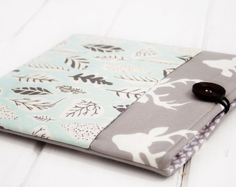 Kindle Paperwhite Case,  kindle accessories, Cute Kindle Case with pocket, Kindle Voyager Sleeve, Electronics Case Deer Grey Buck Green Leaf