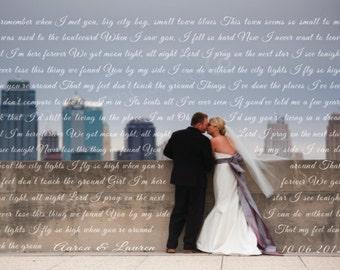 Personalized Wedding photo with song lyrics, Wedding Vows with a photo, personalized Wedding gift