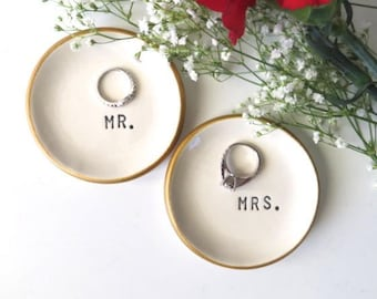 ring dish, ring holder, Wedding Gift, Engagement Gift, Bridal Shower gift, Gift for Couple, Commitment Ceremony, IN STOCK