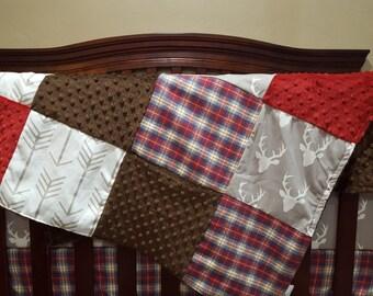 Buck Patchwork Blanket- Gray Buck, Red Navy Plaid, Brown Minky, Crimson Minky, and White Tan Arrow Patchwork Blanket
