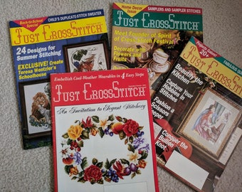 Just Cross Stitch Magazines, March/April 1994 through Sept/Oct 1994, a Year of Cross Stitching