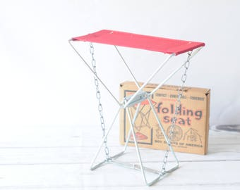 Vintage Red Boy Scout Folding Camping Ice Fishing Seat Stool With Box Old Pal