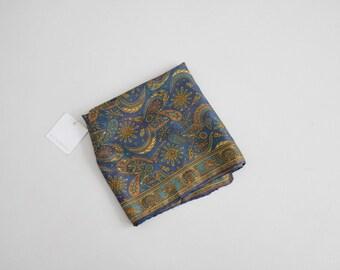 paisley silk scarf | 1970s scarf | blue paisley scarf