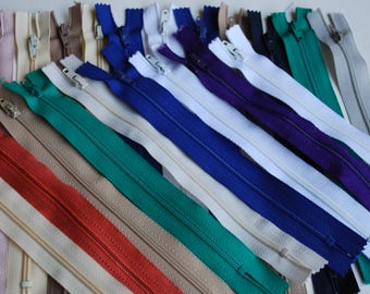 """20 set, nylon zippers colorful zippers 7""""  plastic closed zippers"""