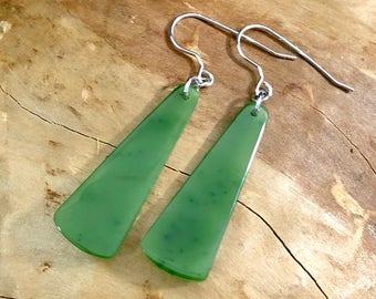 Canadian Nephrite Jade Drop Earrings - Sterling Silver - Natural Jade - 1
