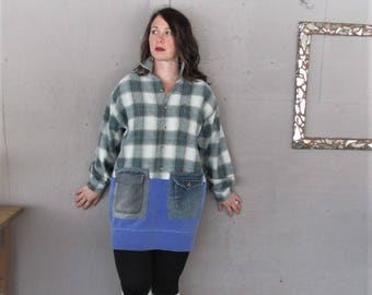 upcycled clothing plaid tunic dress X Large 1 X winter dress top fun clothes Lagenlook shirt Bohemian recycled sweatshirt LillieNoraDryGoods