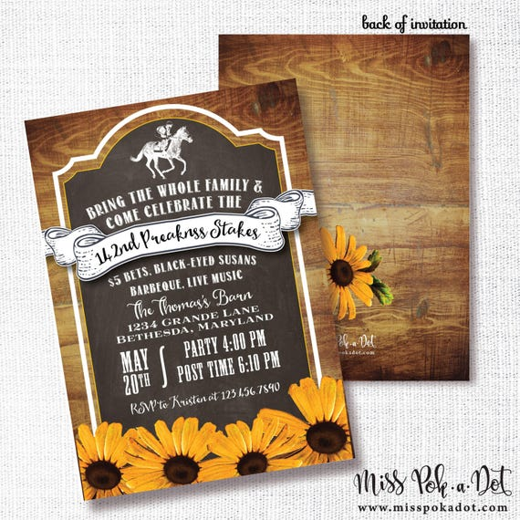 Preakness Stakes Party Invitation Printable Horse Race Party