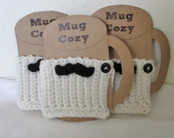 Crochet Cup Cozy, Coffee Cozy, Cup Sleeve, Coffee Sleeve, Stocking Stuffer, Teacher Gift, Office Gift, Mug Cozy, Mug Sleeve, Mustache Cozy