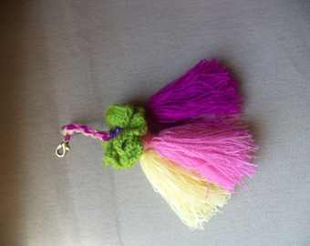 BAG CHARM. COLORFUL.Key Chain embelishment. Pom Pom Charm. Tassel Charm. Tassel Handbag Charm. Tassel Embelishment. English