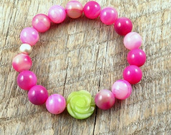 Pink Agate Beaded Bracelet with Green Jade Flower Accent