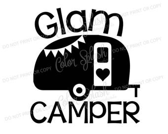 glam camper, glamping, camper, camping, trailer svg, dxf, png, eps cutting file, silhouette cameo, cuttable, clipart