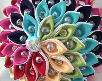 Rainbow Kanzashi Bouquet, Recital Rainbow Bouquet, Fabric Bouquet, Handmade Wedding Bouquet