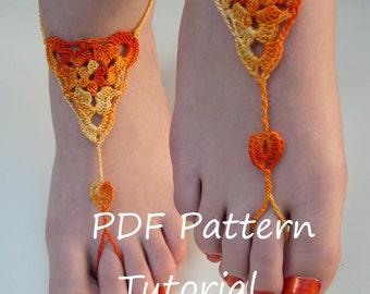 Barefoot sandals crochet pattern - barefoot sandals tutorial - crochet pdf pattern - bridesmaid foot jewelry pattern - Tutorial