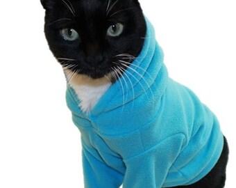 Turquoise Microfleece Cat Hoodie-Fleece Cat Hoodies-Cat Sweatshirt-Sphynx Cat Clothes-Cat Sweater-Cat Hoodies-Cat Shirts-Cat Sweatshirts