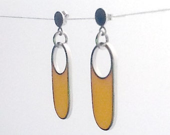 Handmade sterling silver and yellow resin earrings.