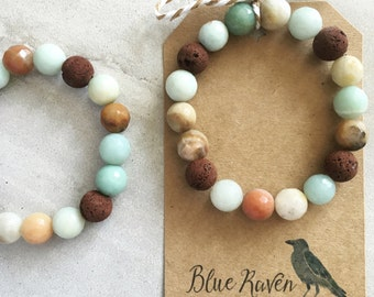 Amazonite / Essential Oil Diffuser Bracelet - Lava Stones and Faceted Amazonite. You choose size and lava color.
