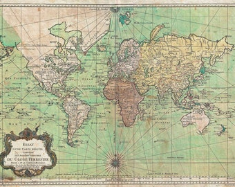MP7 Vintage Historical 1778 Nautical Chart World Map Poster Re-Print Wall Decor A1/A2/A3