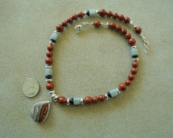 Pendant Necklace - Handmade - Laguna Lace Agate, Red Jasper, Glass, Sterling Silver