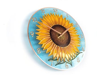 Sunflower Decor, Sunflower Clock, Sun Flower Art, Nature Home Decor, Floral  Art, Orange Clock, Nature Art, Art Home Decor, Flower Decor