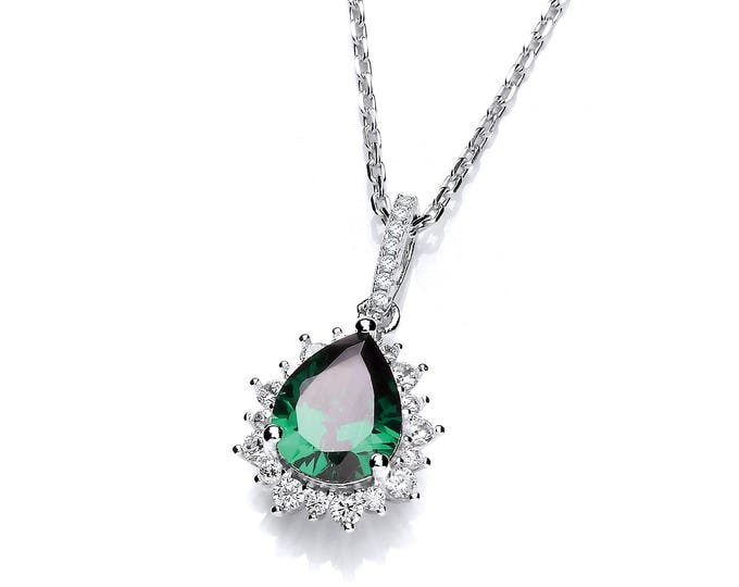 "Sterling Silver Emerald Pear Cut & Cluster Surround Cz Teardrop 16""-18"" Necklace"