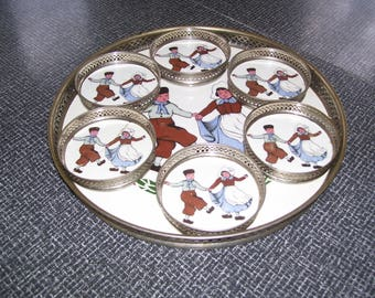 Antique Sternauware Porcelain Tray and Coasters Set Dutch Boy and Girl Germany 1913 Vintage
