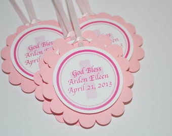 Girls Baptism Favor Tags, First Communion Favor Tags, Thank You Favor Tags, Religious Party Decorations - Set of 12