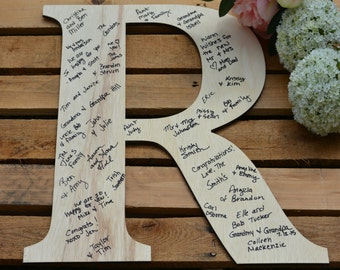 Wedding Guest Book, Large Wood Letter, Personalized Guest Book Alternative, Large Wood Initial, Wedding Guestbook