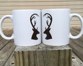 Deer Antler Heart - Couple's Coffee Mugs