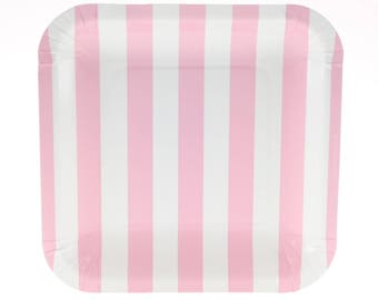 Plates | Pink Candy Stripe Party Plates 7.25\  | Pink Stripe Plates | Square Paper  sc 1 st  Etsy & Striped plates | Etsy