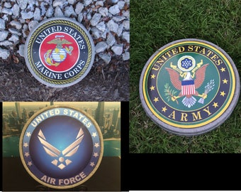 Your branch of service on a garden stone: (USMC, Army and Air Force shown here)