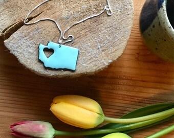 Washing State Neckalce ~ Washington State Pendat~ Washington Love Necklace ~ Enamel Washington Necklace ~Robins Egg Blue Enamel Necklace