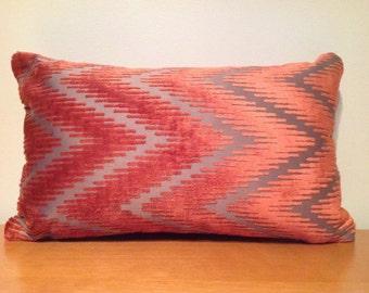 Terracotta & Brown zigzag cushion