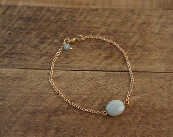 Hip Golden bracelet or necklace with Amazonite