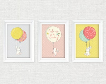 Bunny Balloons Wall Art 3 Pk 8x10 / Bunny Wall Art 3 Pk 8x10 / Bunny Printables