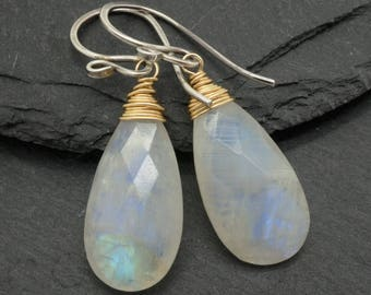 Rainbow moonstone earrings, Silver moonstone earrings, Gold moonstone earrings, Moonstone dangle earrings