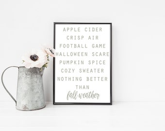 Fall Favorites Print / Autumn Decor / Fall Printable / Autumn Print / Fall Subway Art / Fall Weather Printable / Fall Home Decor / Fall Art