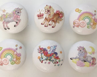 Rainbow unicorn knobs (set of 6) wooden hand painted drawer / door knobs decoupaged with unicorn designs