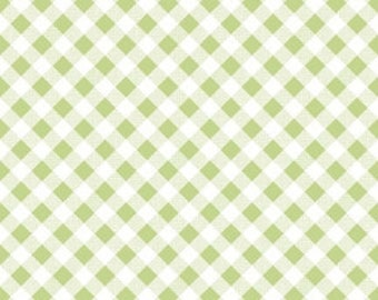 GINGHAM GREEN by Riley Blake, 100% Cotton, Green Check