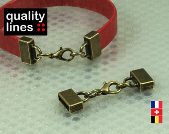 Bronze full clasp for flat leather 10mm / 2mm bracelet