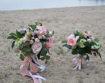 Brides Maids Bouquets, Garden Fresh Maids, Bohemian Brides Maids Bouquets