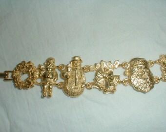 vintage christmas bracelet matte gold tone signed detailed