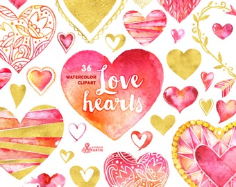 Love Hearts Clipart: 36 Digital files in red, pink and gold colors, hand painted watercolour hearts, valentines, romantic, cards, diy