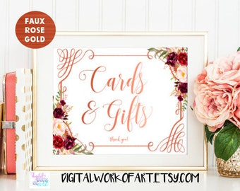 Rose Gold Cards and Gifts Wedding Sign, DIY Floral Boho Rustic Wedding Reception Gift Table PDF Printable, Instant Download, #LC