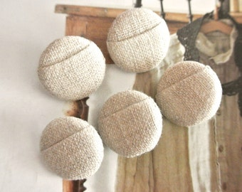 Handmade Minimalist Modern Beige Plain Fabric Covered Buttons, Origami Series, CHOOSE SIZE 5's