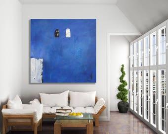 Blue Abstract Art / Original Art / Texture Painting / Oversized Abstract Art / Blue and White Abstract Painting