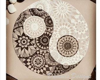 Ying Yang Intricate black and white mandala