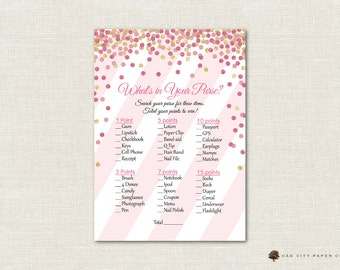 Pink and Gold Whats in Your Purse Baby Shower - Pink Gliter Whats In Your Purse Baby Shower Game, Pink and Gold Baby Shower Games, DIY