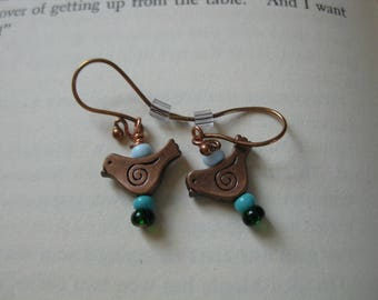 Copper birds with glass beads earrings on copper ear wires
