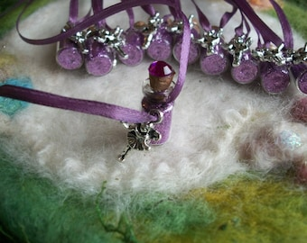 Purple Fairy Party Favors 10 Happy Birthday Flower Fairy Necklaces Magical Sparkle Glitter Ribbon Necklace