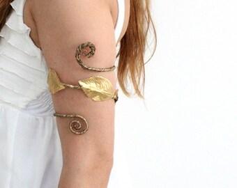 Gold CHALICE Upper Arm Cuff - Woodland Upper Arm Cuff, gold leafs, gold leaves, Flower Girls , Whimsical, Woodland forearm, Amazon cuff